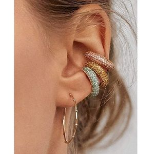 Set of 3 Gold Plated Jeweled Non Pierced Ear Cuffs